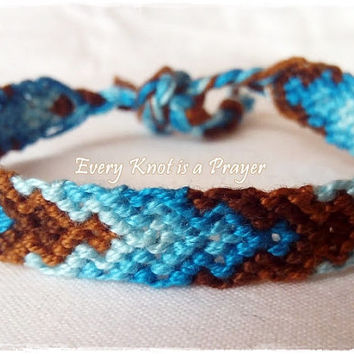 Blue Teal Brown Arrows Macrame Knotted Friendship Bracelet, Wristband