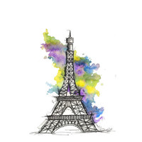 Eiffel Tower Illustration Let's Go to Paris by JessicaIllustration