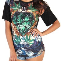 Diamond & Marijuana Print Top - Black