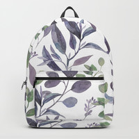 Purple and Green Watercolor Botanicals Backpack by DazzetteMarie