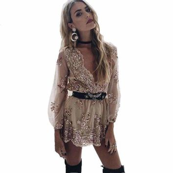 Mesh Sequin Embroidery Playsuits
