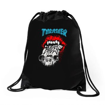 thrasher skateboards Drawstring Bags