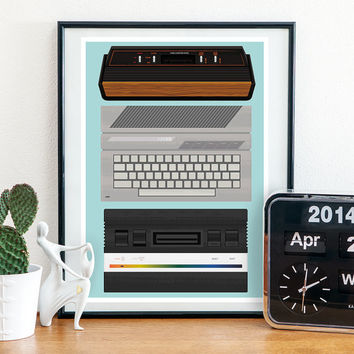8 bit poster, video game poster, atari poster, atari 2600, nerdy art, geek print, retro poster, 80s art, play room art, man cave decor,