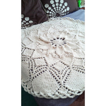 "Throw Blanket Fisherman White Round Doily Thick Wool Hand Knit 45"" READY to SHIP"