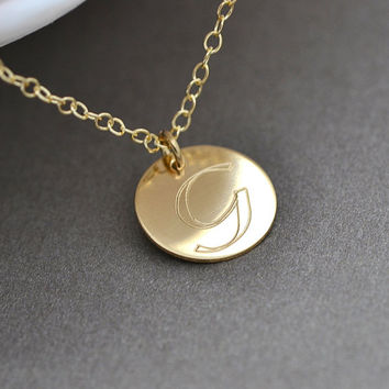 Initial Disc Gold Necklace, 14k Gold or Rose Gold Filled, Celebrity Style, Handstamped Jewelry