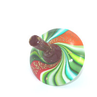 Unique dreidel, colorful spinning top, polymer clay greens, red and yellow colors dreidel, great Hanukah gift idea, toy for all ages