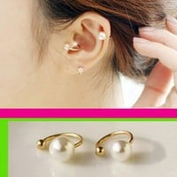 Simply Pearl Ear Cuffs Set (No Piercing, Adjustable)