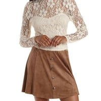 Ivory Lace Mock Neck Long Sleeve Crop Top by Charlotte Russe
