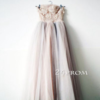 Sweetheart Lace tea-length Prom Dresses, Formal Dresses