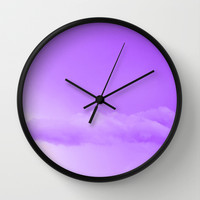 Purple Cotton Candy Clouds Wall Clock by Moonshine Paradise