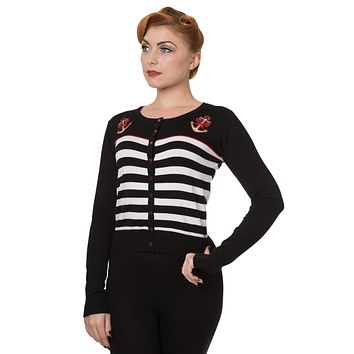 Pinup Sailor Black White Striped Nautical Anchor & Bow Cardigan