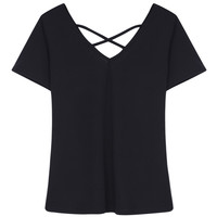 Black V-neck Cross Strap Short Sleeve T-shirt