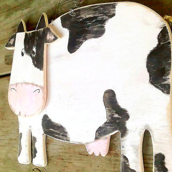 Cow Wooden Sign, Farm Cow, Country Kitchen Decoration, Kid's Room Decor