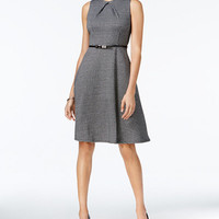 NY Collection Petite Printed Belted Fit & Flare Dress - Dresses - Women - Macy's