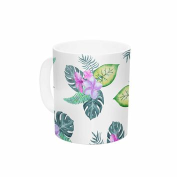 "Sylvia Cook ""Tropical Flowers"" Green Pink Floral Nature Watercolor Digital Ceramic Coffee Mug"