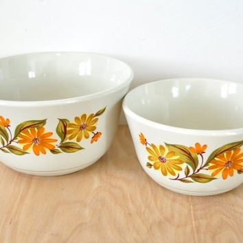 Vintage Cappi Floral Stoneware Bowls, Set of  Two Mixing Bowls Bake Serve N Store