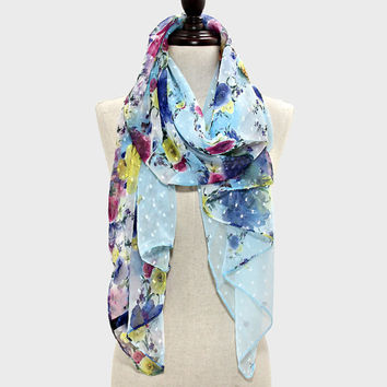 Floral Flowers Blossom Spring Scarf | Blue Yellow Red