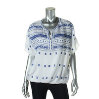Lucky Brand Womens Embroidered Short Sleeves Casual Top