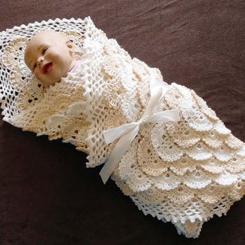 FREE SHIPPING! Baptism outfit, Coming home outfit, Layette for baby, Christening outfit, Baby Heirloom, Crochet White beige outfit