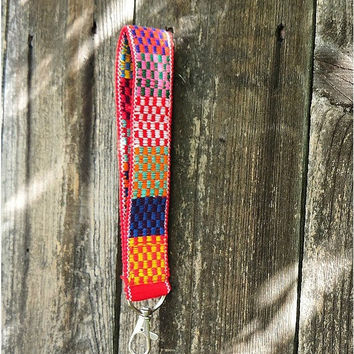 ON SALE red checkered tribal wrist lanyard,ethnic fabric wrist fob,Mexican inspired key chain