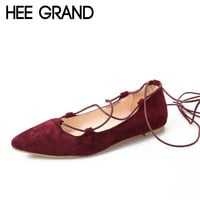 HEE GRAND Ballet Flats Summer Style Gladiator Sandals Lace-Up Shoes Woman Pointed Toe Flats Suede Women Shoes 3 Colors XWD3471