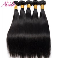 Alibele Peruvian Straight Hair Weave Bundles 100% Human Hair Weaving Natural Color Non Remy Hair Extensions 100G/Piece 10~28inch