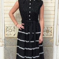 Vintage 50s Dress Black Print Cotton Full Skirt S M