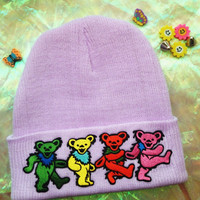 GREATFUL DEAD BEANIE // Dancing Bearz // Unisex Purpz