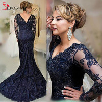 Plus Size Navy Blue Mother Of The bride Dresses 2016 Long Sleeves Applique Trumpet Long Evening Formal Dress Wedding party Gown
