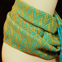 Handwoven Bamboo Scarf, Gold, Turquoise, Green, Woven, MariposaHandwovens, Sash, Accessories, Women's Clothing