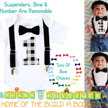 Boys First Birthday Outfit Grey and Black Buffalo Plaid Little Man Party
