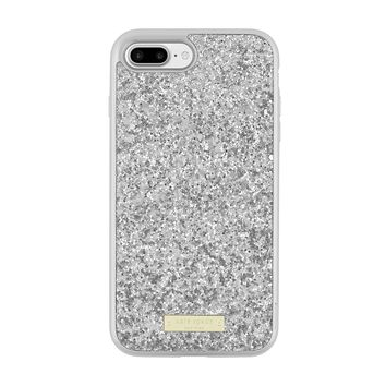 Kate Spade New York Exposed Glitter Case with Metallic Bumper for iPhone 8 Plus iPhone 7 Plus - Silver/Exposed glitter silver
