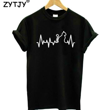 Cat Heartbeat heart line Print Women tshirt Cotton Casual Funny t shirt For Lady Girl Top Tee Hipster Tumblr Drop Ship Y-2