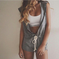 Women's Casual Cotton Workout Hoodie Romper