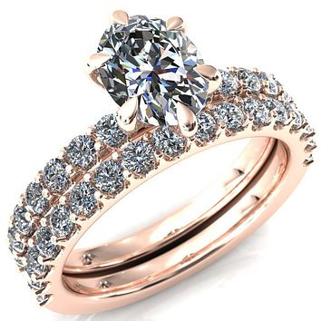 Mylene Oval Moissanite 6 Prong Sculptural Half Eternity Diamond Engagement Ring