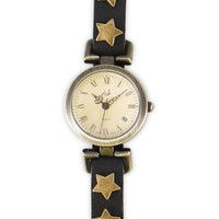 Stargazing Black Leather Strap Vintage Watch