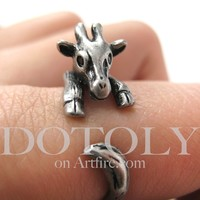 PRE ORDER Miniature Baby Giraffe Ring in Silver Sizes 4 to 9 available - Dec 16th