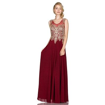 Cinderella Divine 2635 - Jewel Embellished Sheer Back Chiffon Prom Dress Burgundy
