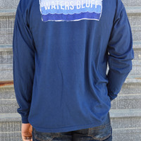 Waters Bluff Waves Long Sleeve Tee- Navy