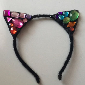 Bedazzled LED Cat Ears LED Kitten Ears Hello Kitty Kitten headband Flower crown LED Headband for rave Music Festival disney rave outfit