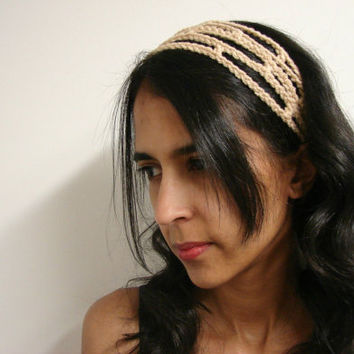 Crochet Headband Tan Adjustable Head Band Tan by myhobbyshop