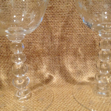 Star etched small champagne glasses