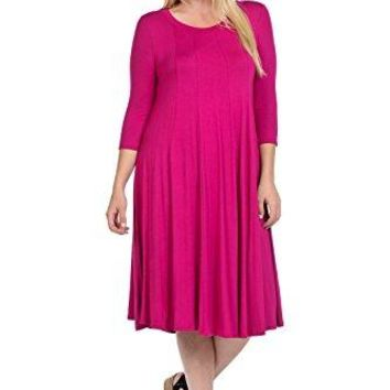Pastel by Vivienne Womens ALine Trapeze Midi Dress Plus Size  Made In USA
