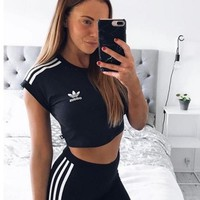 adidas Originals Black Three Stripe Cropped Top