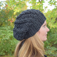 Chunky Slouchy Beanie, Knit Slouchy Hat, Wool Slouchy Hat, Slouchy Knit Beanie, Charcoal Black  - Ready to Ship