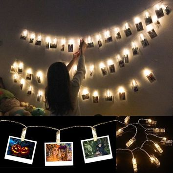 10 LEDs Photo Picture Clips String Lights Wall Decoration Light Wedding Party Christmas Home Decor Lights for Hanging Photos Pai