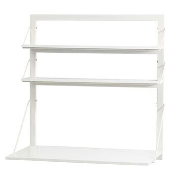 Three Tiers Wall Desk (White/White)