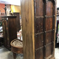 Antique Armoire Reclaimed TEAK INDIA FURNITURE DARK Patina HUGE Cabinet 79x35