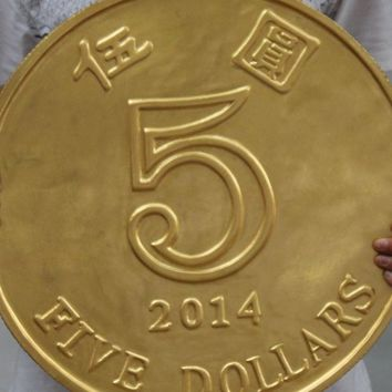 "FREE SHIPPING 16"" Decoration Chinese Bronze Gild Wealth Money Coin Five Yuan Renminbi Statue"