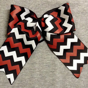 Black, Red, & White Chevron Softball / Cheer / Volleyball  Bow